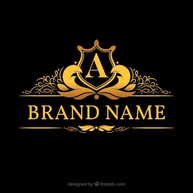 """Monogram logo met gouden brief """"a"""" Gratis Vector"""