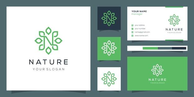 Monogram ontwerp letter n en blad met lijnstijl. logo en visitekaartje. Premium Vector
