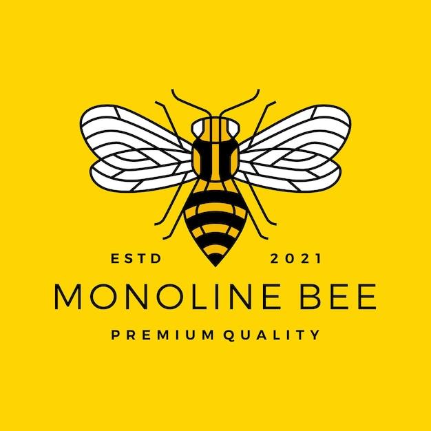 Monoline bee lijn overzicht lijntekeningen kleurrijke logo Premium Vector