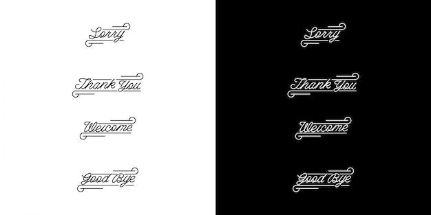 Monoline vintage letterset Premium Vector