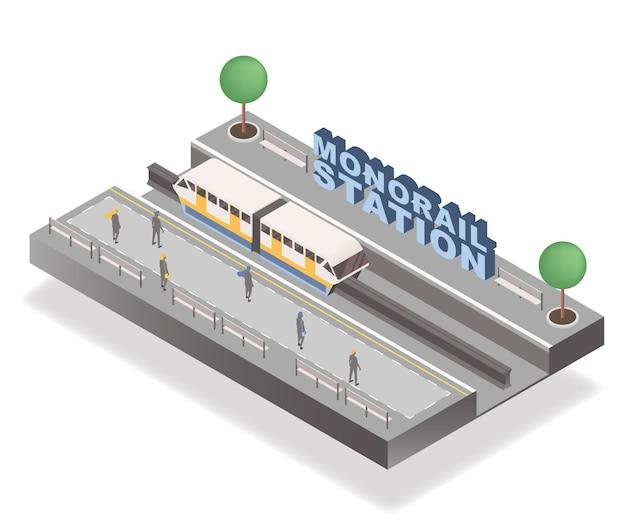 Monorailstation Premium Vector
