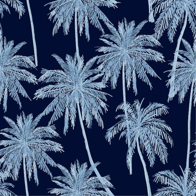 Monotone blauwe schaduw van patroon van de zomer het naadloze blauwe palmen op marineblauwe achtergrond. Premium Vector