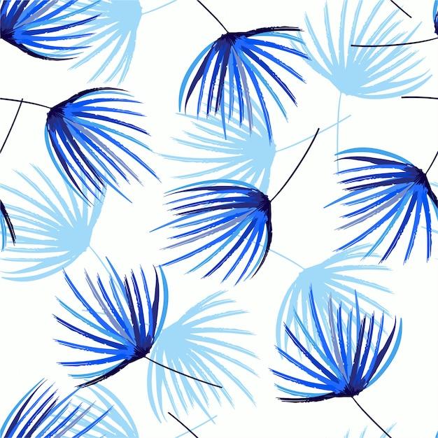 Monotone op blauwe schaduw naadloos patroon in vectorhandpenseelschets van palmbladen. ontwerp feor mode, stof, web, behang, wrappidng en alle prints Premium Vector