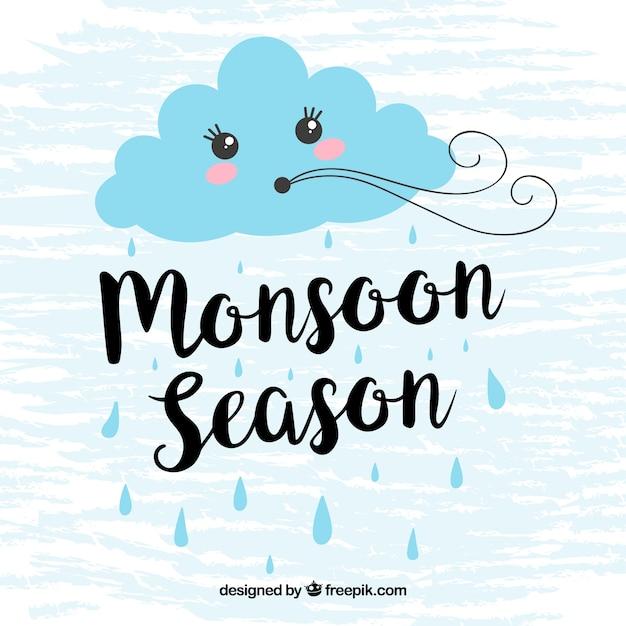 Monsoon achtergrond met wolk blazen Gratis Vector