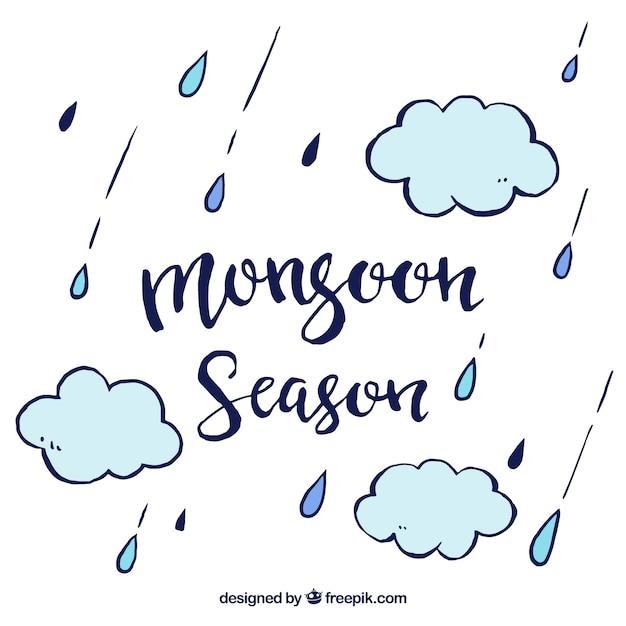 Monsoon achtergrond met wolken en druppels Gratis Vector