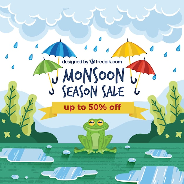 Monsoon verkoop achtergrond Gratis Vector