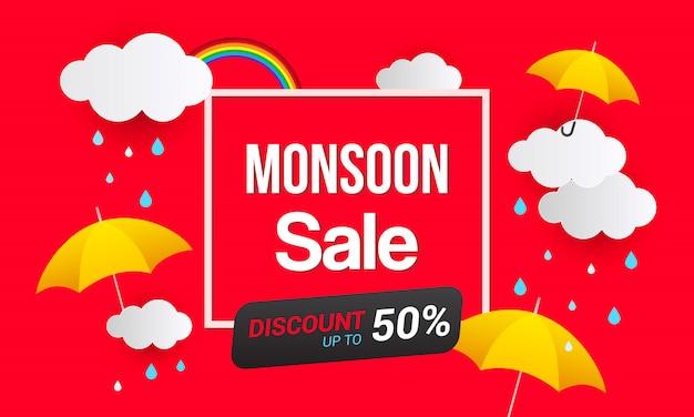 Monsoon-verkoop bannersjabloon Premium Vector