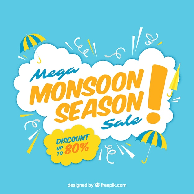 Monsoon-verkoopsamenstelling met vlak ontwerp Gratis Vector