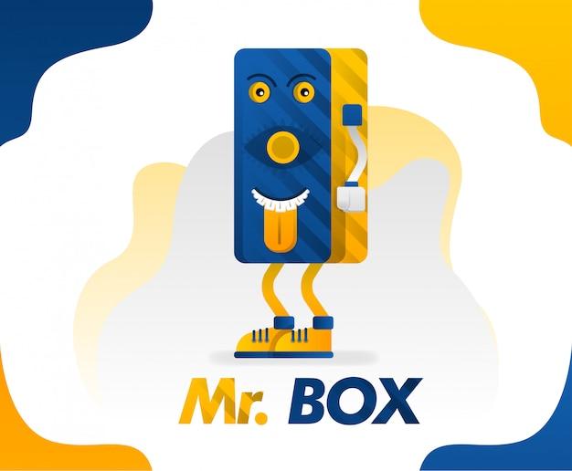Monster box of mr box kan worden toegepast voor t-shirts Premium Vector