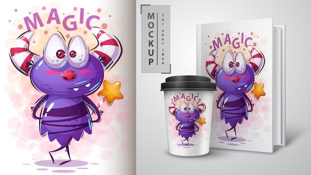 Monster cartoon karakter illustratie en merchandising Premium Vector