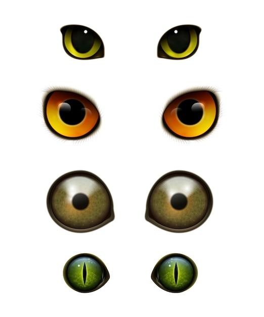 Monster dieren katten realistische ogen Gratis Vector