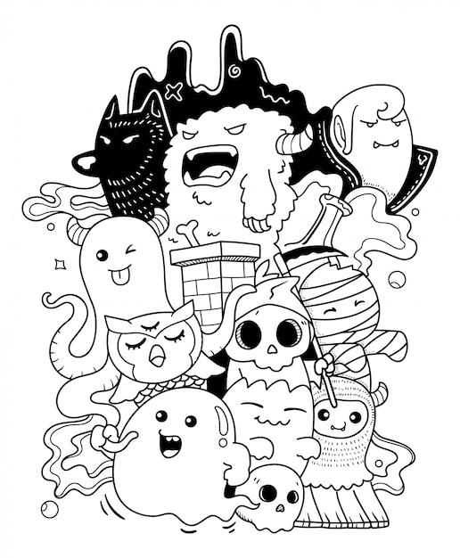 Monster doodle kunst Premium Vector