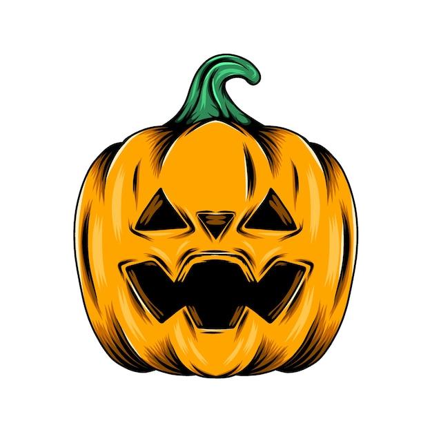Monster gele pompoen met de driehoekige gatenogen voor de decoratie van halloween Premium Vector