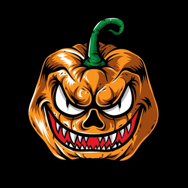 Monster halloween pompoen hoofd Premium Vector