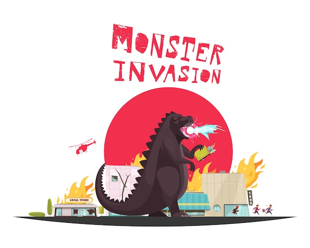 Monster invasie aanval scène met grappige draak instelling winkels in vuur en vlam helikopter en lopende mensen plat Gratis Vector