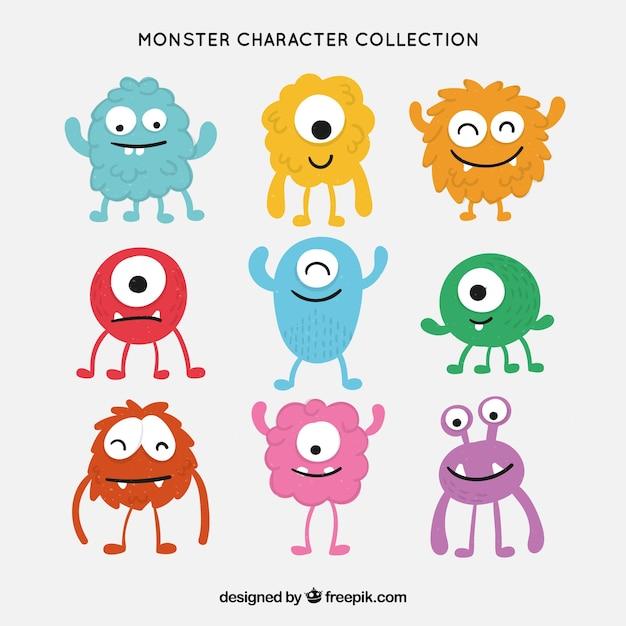 Monster karakterverzameling Gratis Vector
