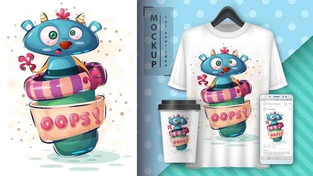 Monster koffie poster en merchandising Gratis Vector
