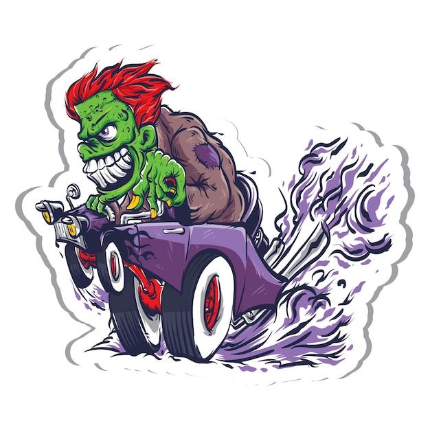 Monster ride-auto Premium Vector