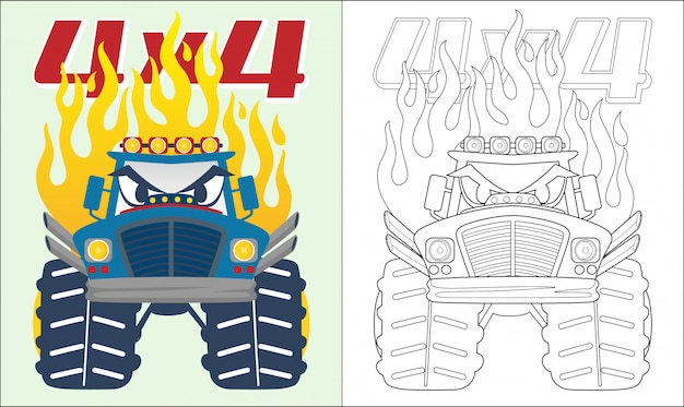 Monster truck cartoon met vlam Premium Vector