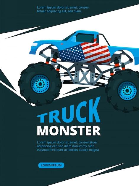Monster truck poster. Premium Vector