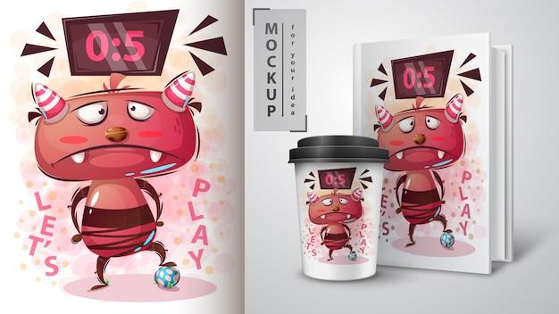Monster voetballen illustratie en merchandising Premium Vector