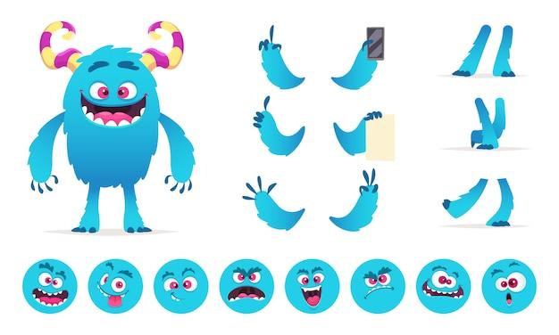 Monsterbouwer. ogen mond emoties delen van leuke grappige wezens voor games creatie kit voor kinderen hallowen feest Premium Vector