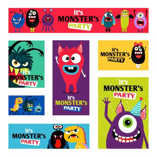 Monsters banners set of monster labels voor kinderdagboek Premium Vector