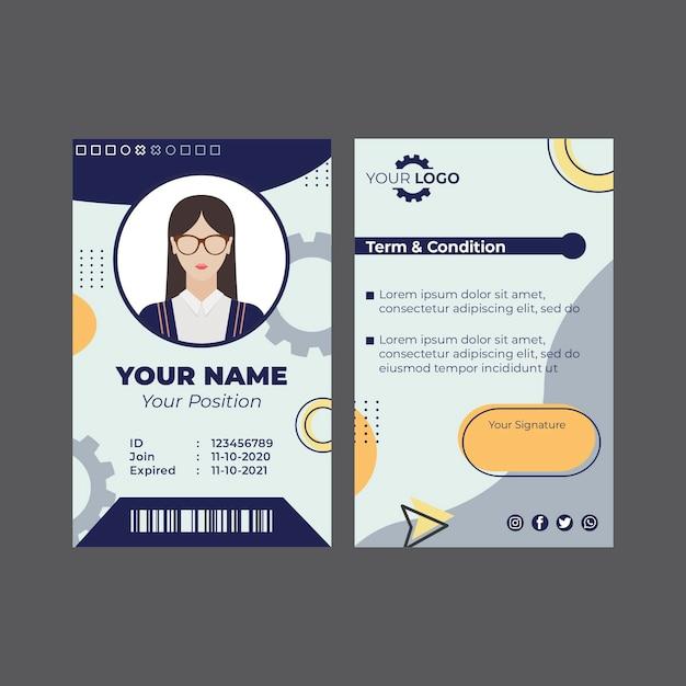 Monteur id-kaartsjabloon Gratis Vector