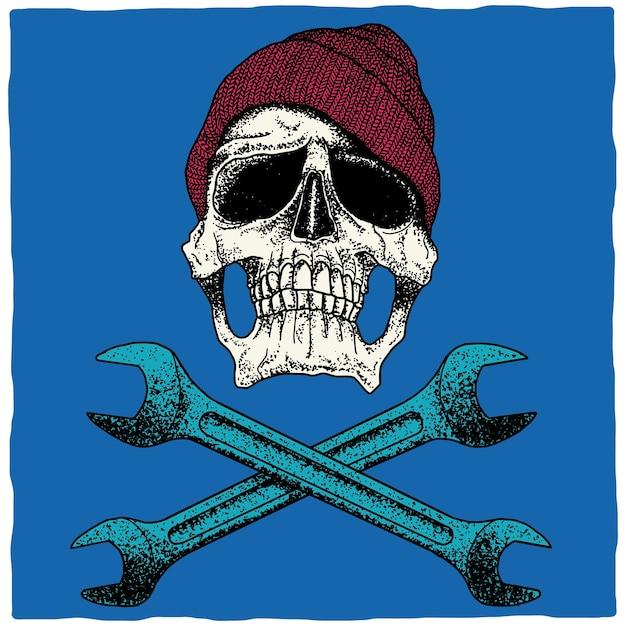 Monteur schedel poster Gratis Vector