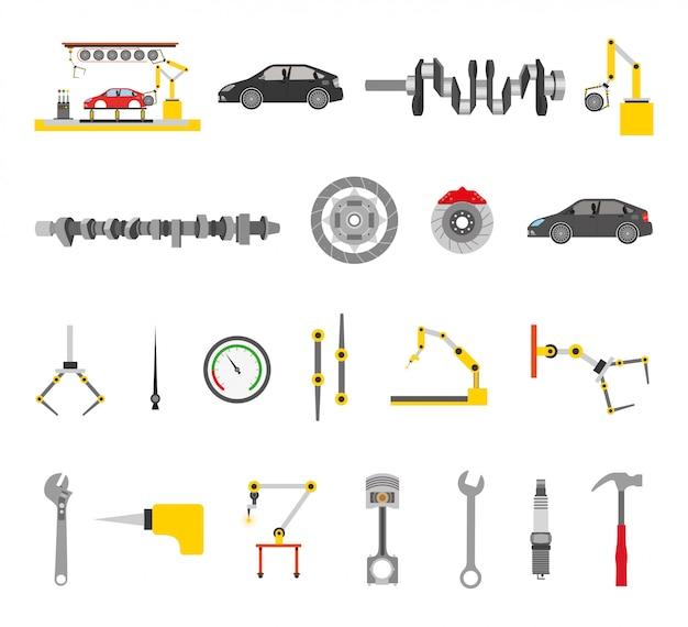 Monteur winkel bundel van tools Gratis Vector