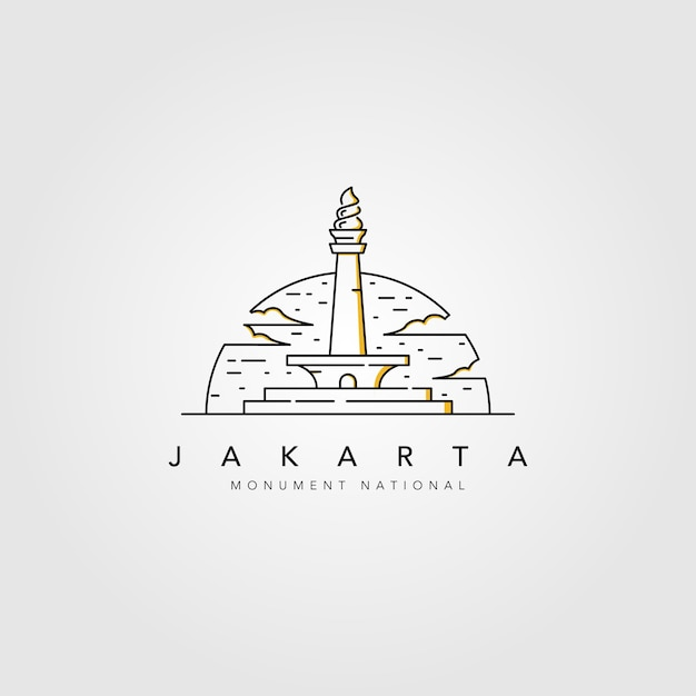 Monument national of jakarta line logo Premium Vector