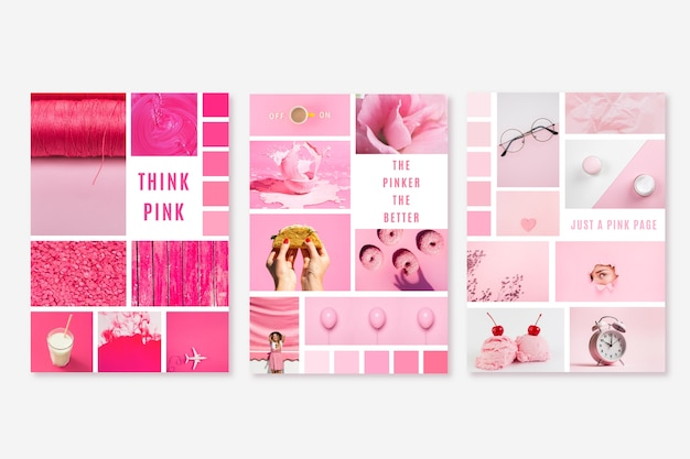 Moodboard-sjabloon in fel roze Gratis Vector