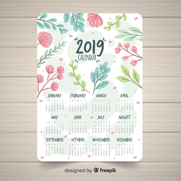 Mooi 2019 kalendersjabloon met bloemenstijl Gratis Vector