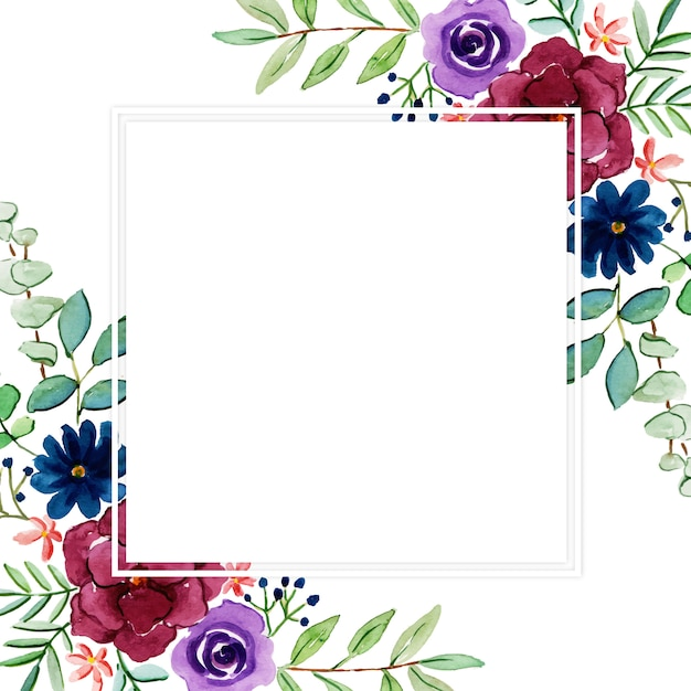 Mooi aquarel multifunctioneel bloemenframe Premium Vector