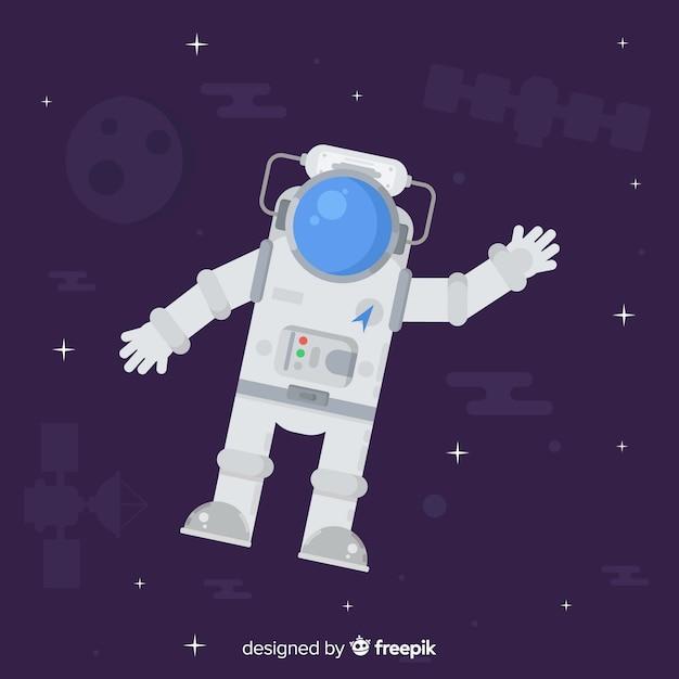 Mooi astronautenkarakter met vlak ontwerp Gratis Vector