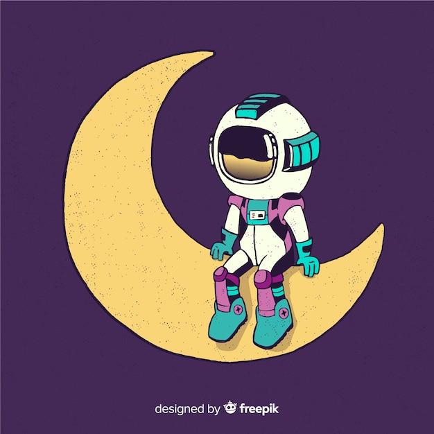 Mooi astronautenontwerp Gratis Vector