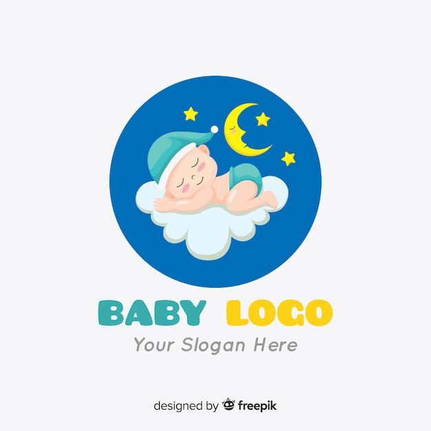 Mooi babyembleem met moderne stijl Gratis Vector