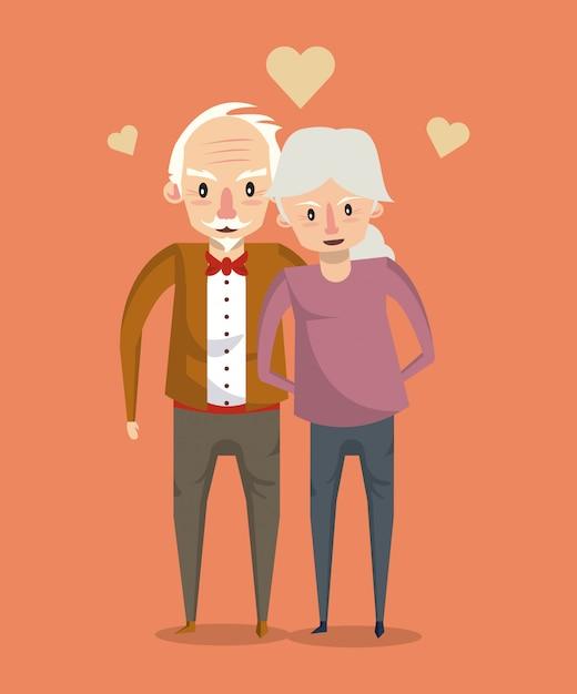 Mooi bejaarde echtpaar lachende cartoon Premium Vector