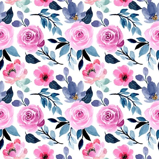 Mooi blauw en roze waterverf bloemen naadloos patroon Premium Vector