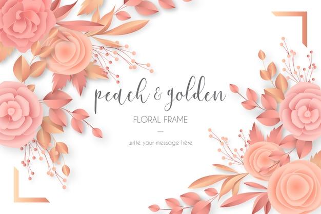 Mooi bloemenframe in perzik & gouden kleuren Gratis Vector
