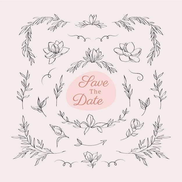 Mooi bloemenhuwelijkslogo Gratis Vector