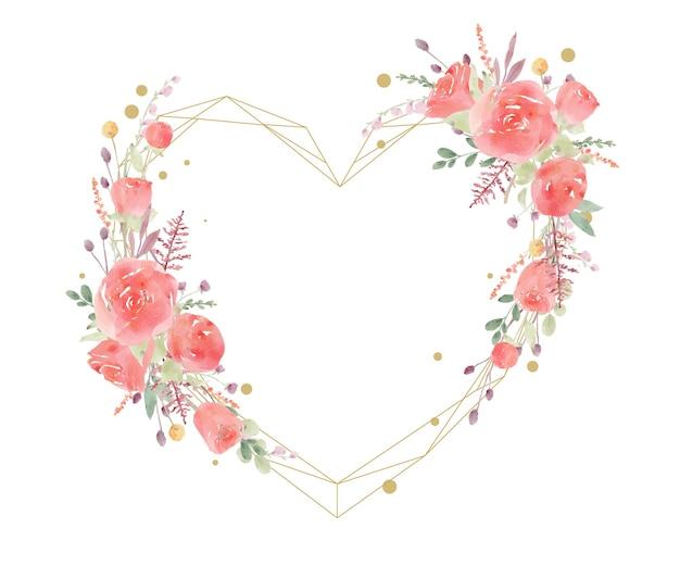 Mooi bloemenkader met rode roze waterverf Gratis Vector