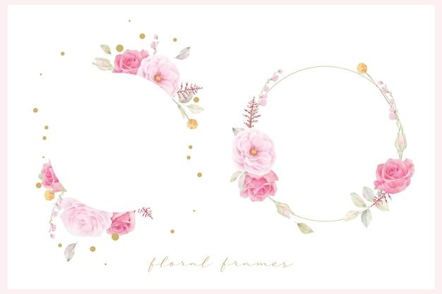 Mooi bloemenkader met roze roze waterverf Gratis Vector