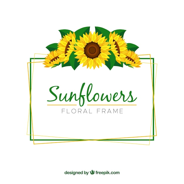Mooi bloemenkader met zonnebloemen Gratis Vector