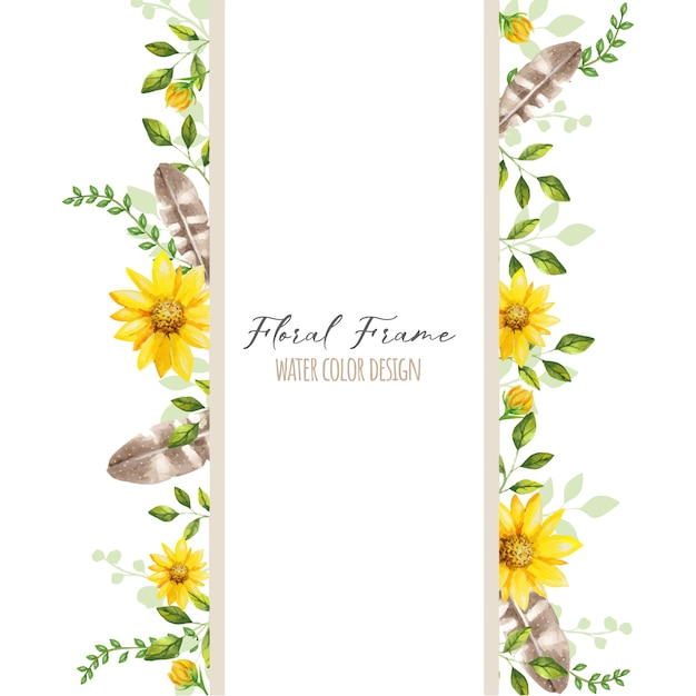 Mooi bloemkader Premium Vector