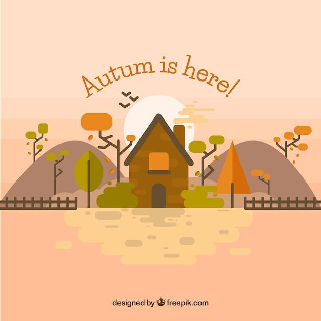Mooi boerderij en herfst landschap Gratis Vector