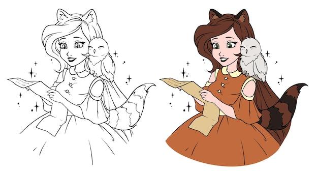 Mooi cartoonmeisje met schattige uil. meisje dat met wasbeeroren en staart de brief leest. Premium Vector