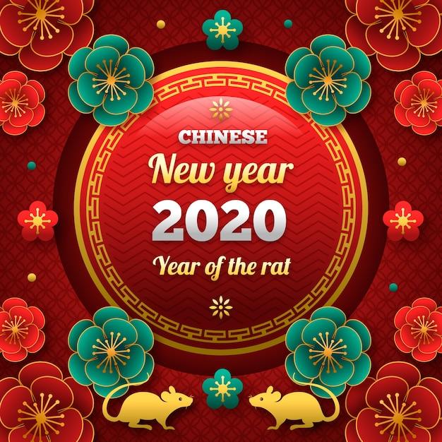 Mooi chinees nieuwjaar in plat ontwerp Gratis Vector