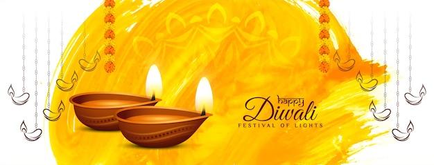 Mooi cultureel happy diwali-ontwerp van de festivalbanner Gratis Vector