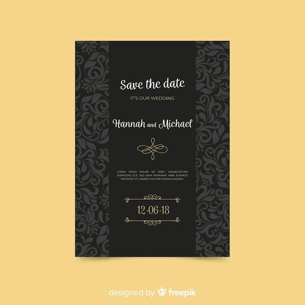 Mooi de uitnodigingssjabloon van het art decohuwelijk Gratis Vector